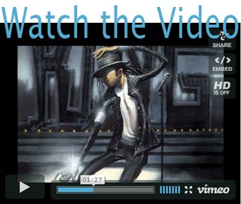 Video about the painting of Michael Jackson by Justin BUA