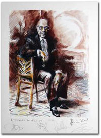 Ahmet Ertegun by Ronnie Wood and signed by all of Led Zepplin