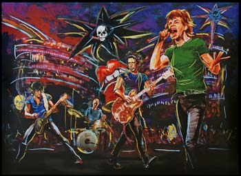 Skulls on Stage Canvas by Ronnie Wood