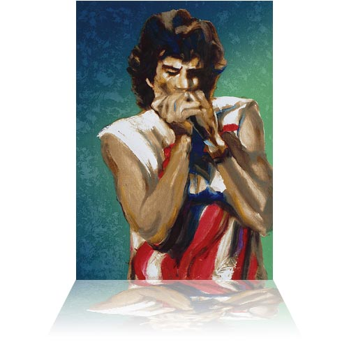 Rolling Stonesu0026#39; Mick Jagger With Harmonica II Emerald by Artist Ronnie Wood