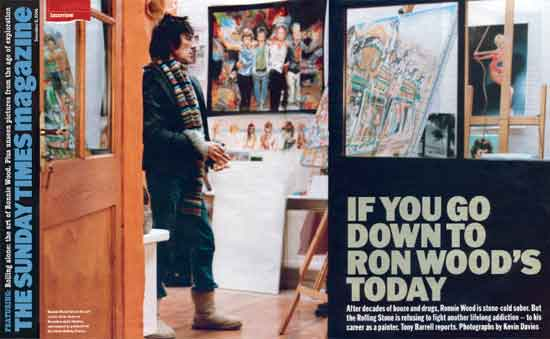 Ronnie Wood Painting in his Studio