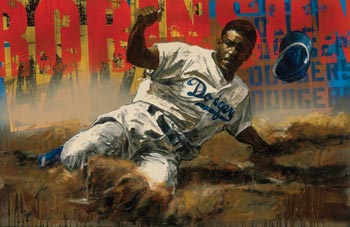 Jackie Robinson Stealing Home by Stephen Holland