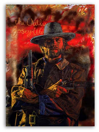Clint Eastwood as the Outlaw, painting by Stephen Holland