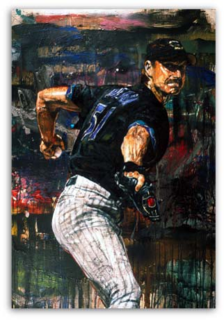 Randy Johnson Baseball by Stephen Holland