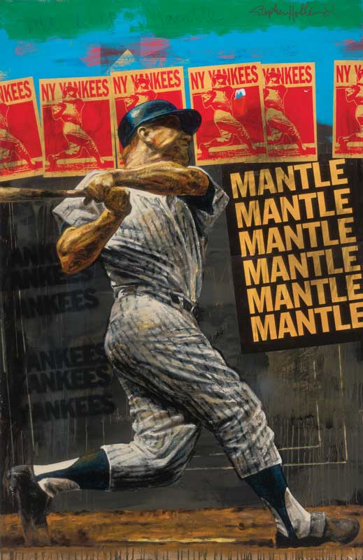 Mickey Mantle by sports artist Stephen Holland