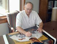 Nolan Ryan signing Stephen Holland limited edition