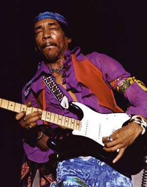 picture of jimi hendrix playing a telecaster