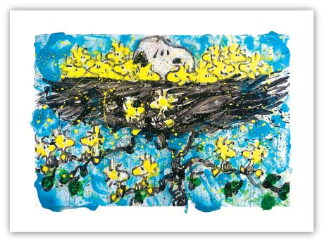 Opening Night by Tom Everhart - Snoop in Nest with many Woodstocks