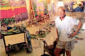 Tom Everhart in painting studio